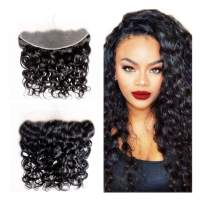 LOVBITE Water Wave Frontal 13x4 Ear To Ear Wet and Wavy Frontal Closure Free Part Per Plucked Brazilian Lace Closure Water Wave Frontal Virgin Human Hair Natural Color (13x4 12Inch)