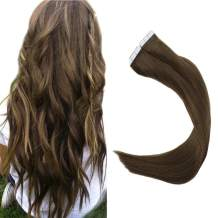 Full Shine 16 inch Ash Brown (#8) 40 Pcs 100g Per Set Pu Tape in 100% Real Remy Human Hair Extensions Fashion Hair Extensions