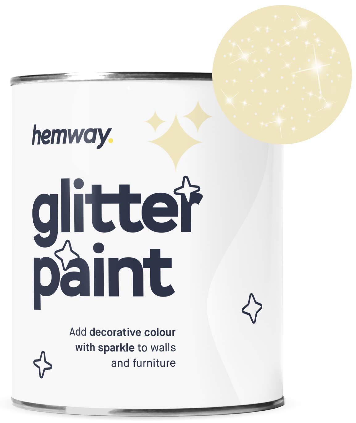 Hemway Silver Glitter Paint 1L Matte Walls Wallpaper Bathroom Furniture Acrylic Latex (Lemon Chiffon Yellow)