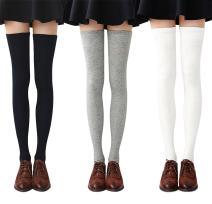 Chalier 3-4 Pairs Womens Thigh High Socks Cotton Striped Over the Knee Socks Long Knee High Socks for Women