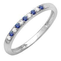 Dazzlingrock Collection 14K Round Gemstone & White Diamond Ladies Wedding Band Ring, White Gold