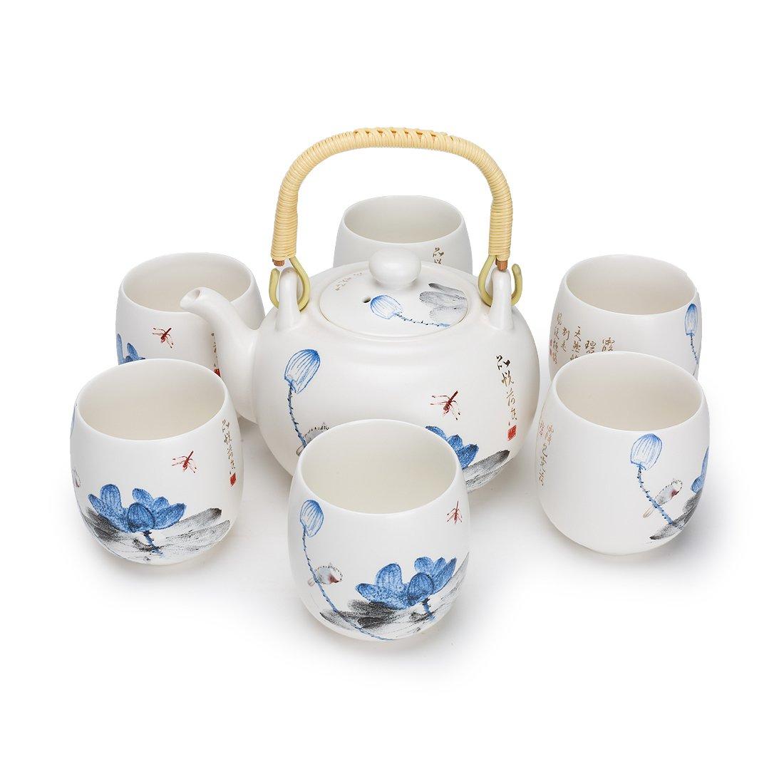 FORLONG Vintage Chinese Style Porcelain Handmade Kung Fu Tea Set with tea pot,tea cups 7-pack