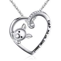 "BriLove Women 925 Sterling Silver Cubic Zirconia Engraved""Keep Me in Your Heart"" Cute Pig Pendant Necklace"