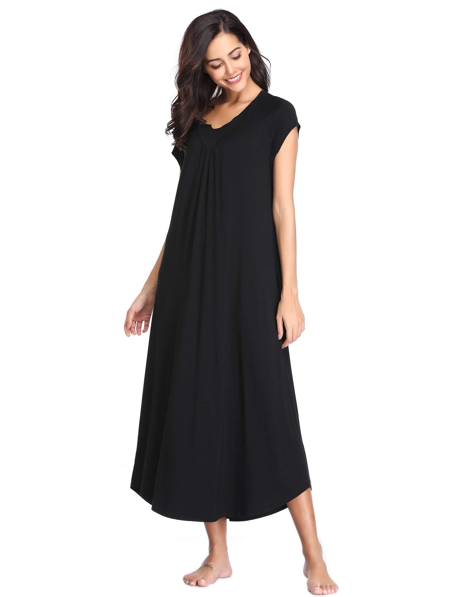 Lusofie Long Nightgowns Womens Button Nightshirts Short Sleeve Sleepwear