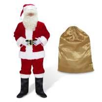ABALAGU Men's Deluxe Santa Suit 10pc. Christmas Velvet Adult Santa Claus Costume