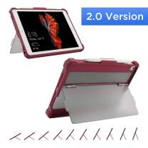 Maxjoy Case for 9.7 iPad 2018/2017, iPad Air 2/1 Case Cover, iPad Pro 9.7 Case, Protective But Slim + Secure Multi Angle Kickstand + Pencil Holder for iPad 9.7 inch 5th/6th Gen,【2.0 Version】,Red