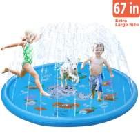 TNELTUEB Sprinkler for Kids 67'' Splash Pad Water Sprinkler Toys Wading Pool for Kids Toddlers Sprinkler Water Playmat for Summer Outdoor Backyard