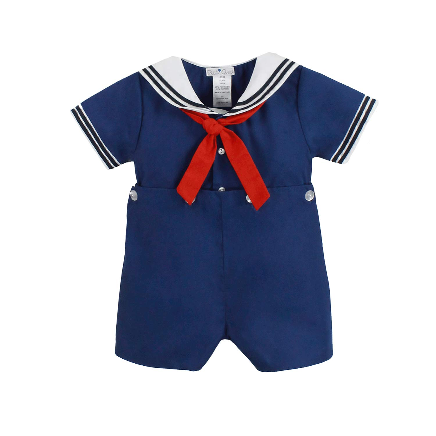 Petit Ami Baby Boys' 2 Piece Nautical Bobby Suit with Collar