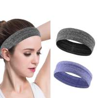Asool Women's Yoga Running Headbands Sports Workout Hair Bands Sport Headband No Slip Grip Hairband Head Wrap for Men and Women Pack of 2