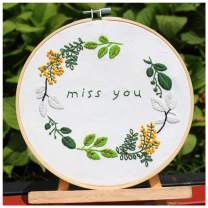 Jascaela Full Set of Handmade Embroidery Starter Cross Stitch DIY Kit with Floral Pattern Including Cotton Cloth, Bamboo Hoop, Color Threads, Tools Kit Miss You Text