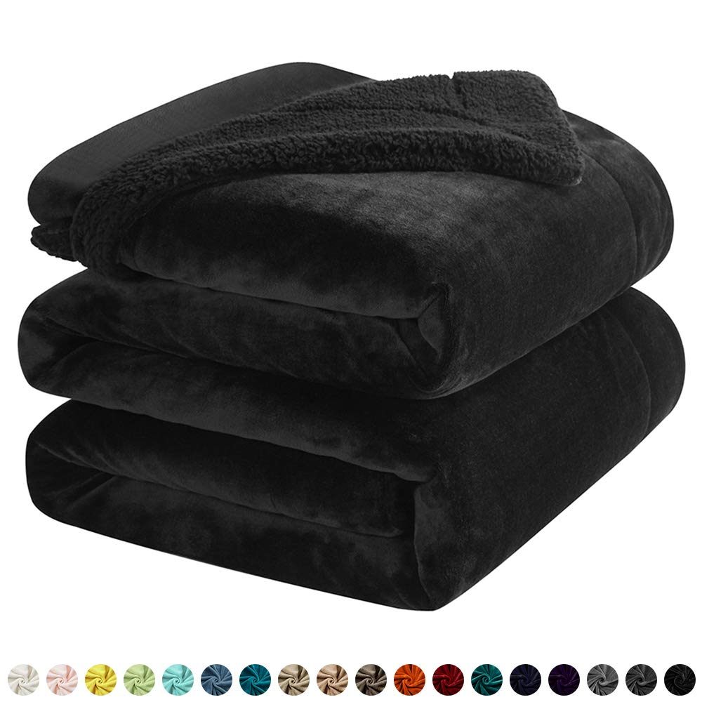 """Walensee Sherpa Fleece Blanket (Queen Size 90""""x90"""" Black) Plush Throw Fuzzy Super Soft Reversible Microfiber Flannel Blankets for Couch, Bed, Sofa Ultra Luxurious Warm and Cozy for All Seasons"""