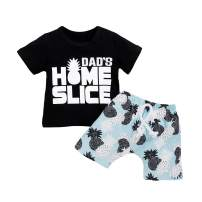 Newborn Baby Boys Summer Clothes Set Letter Tops T-Shirt Pineapple Printed Shorts Sets