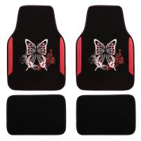 CAR PASS Embroidery Butterfly and Flower Universal Fit Car Floor Mats, Fit for Suvs,Sedans,Trucks,Cars, Set of 4(Black and Red)