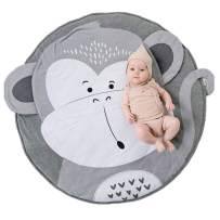 Abreeze Cotton Baby Crawling Mat Game Blanket Floor Playmats Round Carpet with Cute Monkey Shape Kids' Room Decor Grey