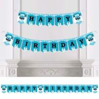 Big Dot of Happiness Yeti to Party - Abominable Snowman Birthday Party Bunting Banner - Birthday Party Decorations - Happy Birthday
