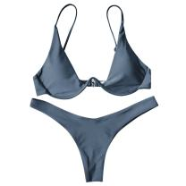 ZAFUL Women's Beach Swimwear Push Up Plunge Bathing Suit Bikini Set