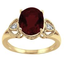 Oval Garnet and Diamond Ring in 10K Yellow Gold