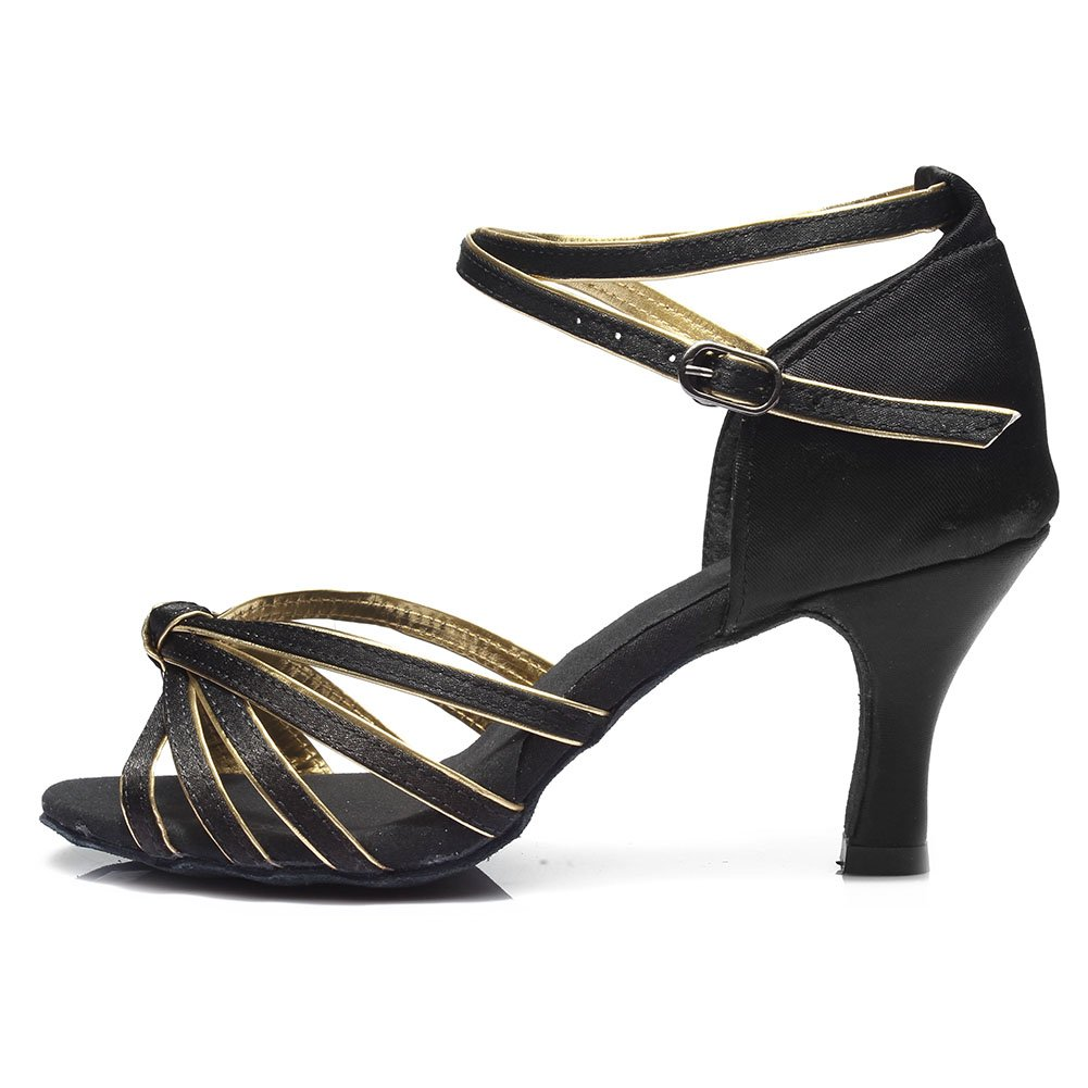 DKZSYIM Women's Satin Latin Dance Shoes Ballroom Performance Shoes Model 217