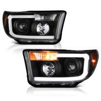 VIPMOTOZ Neon Tube Projector Headlight Assembly For 2007-2013 Toyota Tundra & 2008-2017 Sequoia, Black Housing, Driver & Passenger Side
