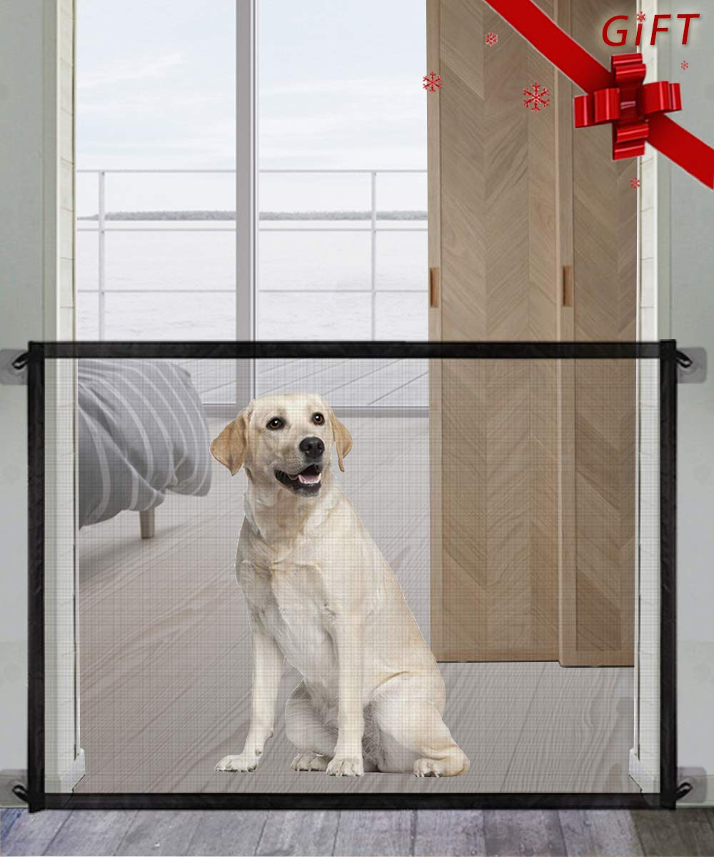 "Pet Gate Magic Gate for Dogs,Queenii Pet Safety Guard Mesh Dog Gate,Portable Folding Children's Safety Gates Install Anywhere, Safety Fence for Hall Doorway Wide 41.09"" [No Smell Series] Black"