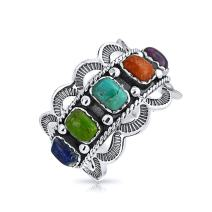 Native American Style Multi Stone Color Gemstone Stabilized Turquoise Boho Statement Band Ring For Women Sterling Silver