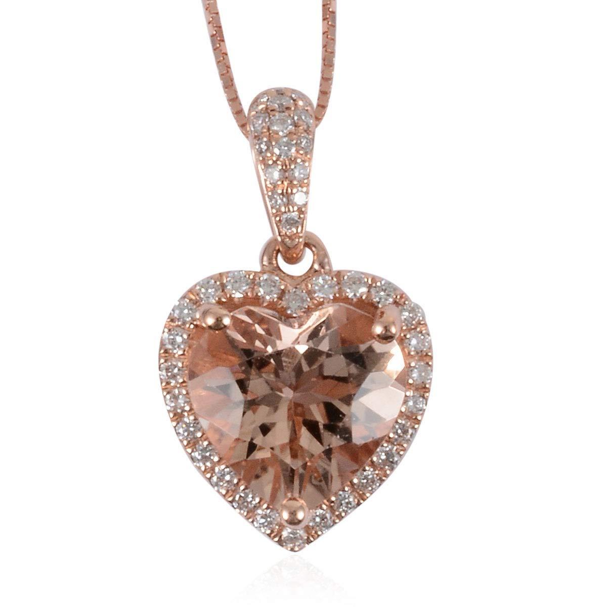 "18K Rose Gold ILIANA AAA Premium Morganite Diamond Valentine Heart Pendant Necklace Gift Jewelry Women 18"" Ct 2 G-H Color SI1"