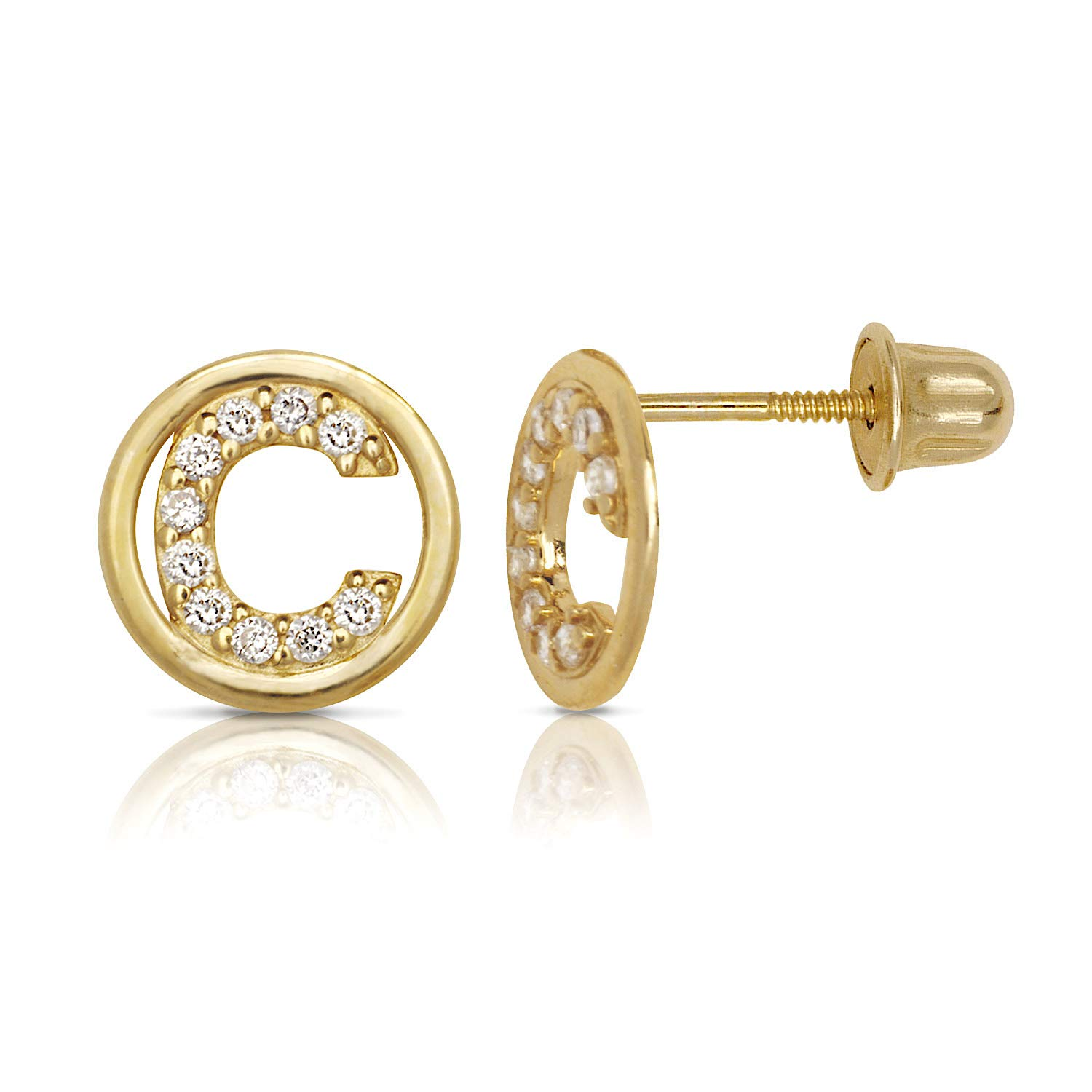 Jewelryweb Solid 14k Yellow Gold Small Cubic Zirconia Circle A-Z Initial Stud Screw-back Earrings