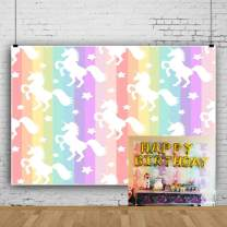 Laeacco White Unicorn Backdrop 8x6ft Vinly Photography Background Colorful Vertical Striped Photo Background White Uniocrn on Background Unicorns Photo Backdrop Children Baby Girls Birthday Decor