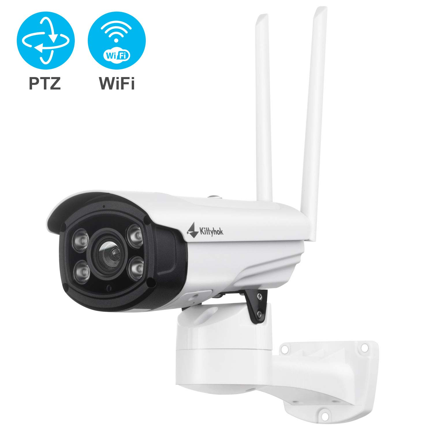 Kittyhok Wireless Security Camera Outdoor, 1080P FHD WiFi PTZ Camera Surveillance Cameras with Spot Light and Siren Alarm, 100ft Color Night Vision, 2-Way Audio (Standalone or Works with NVR)