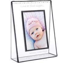Baby Picture Frame Personalized Gift for New Mom and Dad 4x6 Photo Engraved Glass Keepsake Nursery Décor Pic 319 EP558 (4x6 Vertical)