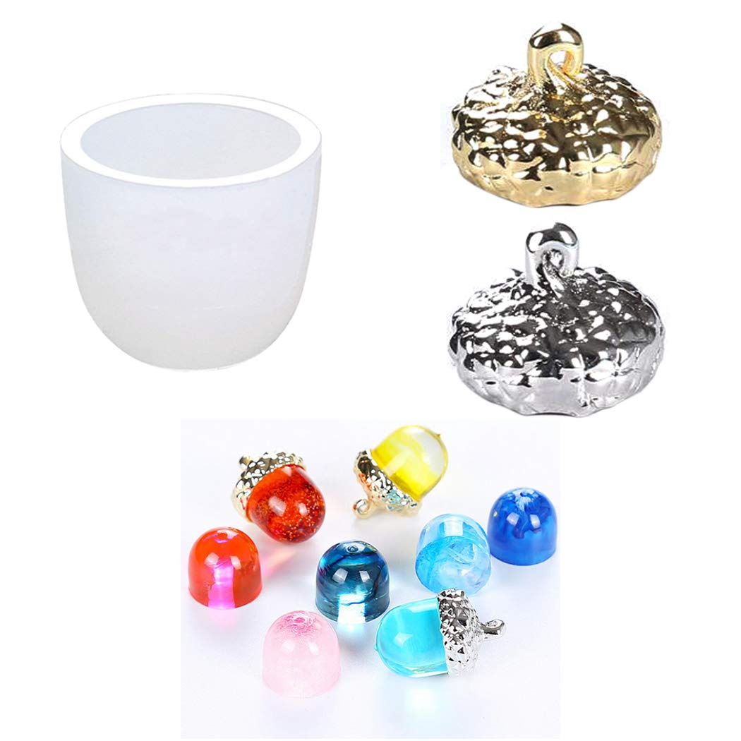 iSuperb Silicone Resin Epoxy for DIY Acorn Pendant Crystal Casting Jewelry Making Tools Set Handmade Art Craft 1 Model and 2 Hanging Hats