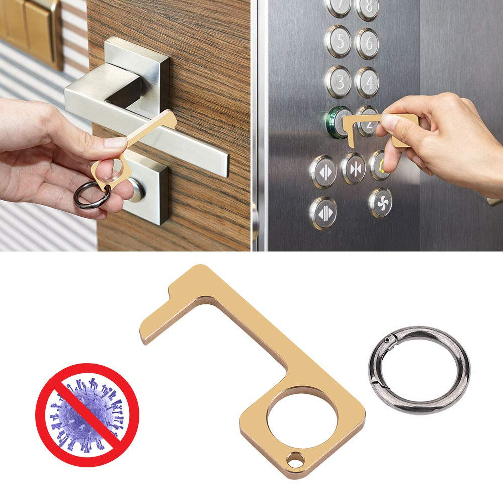 JoyTutus Safety Handled Non-Contact Door Opener and Elevator Button Press with a Free Round Keychain, Healthy Stylus Keychain Hand Tool, Portable Contactless Door Opene Tool Keep Hand Clean, Brass