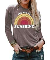 Vanbuy Womens Long Sleeve Good Vibes T Shirts Rainbow Print Top Graphic Tee Tunic