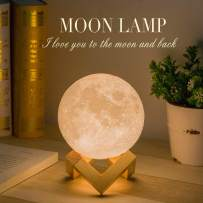 Moon Lamp, Balkwan 7.1 inches 3D Printing Moon Light uses Dimmable and Touch Control Design,Romantic Funny Birthday Gifts for Women,Men,Kids,Child and Baby. Rustic Home Decor Rechargeable Night Light