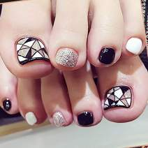 Drecode Fashion Glossy Fake Toenails Black Foot Fake Nail Glitter Stripe Full Cover Aryclic Square Daily Party Date Clip Press on Toe Nails for Women and Girls(24Pcs)