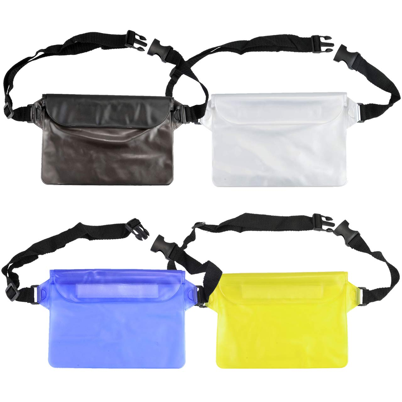 FALETO 4-Pack Waterproof Pouch with Adjustable Waist Strap Touchable Dry Bag Phone Pouch for Swimming Boating Snorkeling Kayaking Water Parks