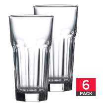 Drinking Glasses Set of 6, Premium Lead-Free Clear Iced Tea Glasses, 12 ¼ oz Heavy Base Highball Glass Tumbler Set for Drinking Water, Cocktail, Juice, Milkshake, Coke, Soda