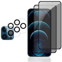 [2 Pack] Privacy Screen Protector Compatible with iPhone 12 Pro 5G 6.1 inch and [2 Pack] Camera Lens Protector, Anti-Spy Tempered Glass Film, [Full Coverage][Scratch Resistant][Case Friendly]