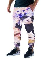RAISEVERN Unisex 3d Funny Cats Printed Graphic Hipster Sweat Pant Jogging pants, Funny Cats, M