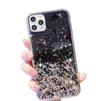 """HUIYCUU Compatible with iPhone 11 Pro Max Case 6.5"""", Cute Slim Girl Women Glitter Design Pattern Shockproof Full Body Anti-Scratch Soft Bumper + Hard Back Cover Case for iPhone 11 Pro XI Max, Black"""