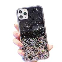 "HUIYCUU Compatible with iPhone 11 Pro Max Case 6.5"", Cute Slim Girl Women Glitter Design Pattern Shockproof Full Body Anti-Scratch Soft Bumper + Hard Back Cover Case for iPhone 11 Pro XI Max, Black"