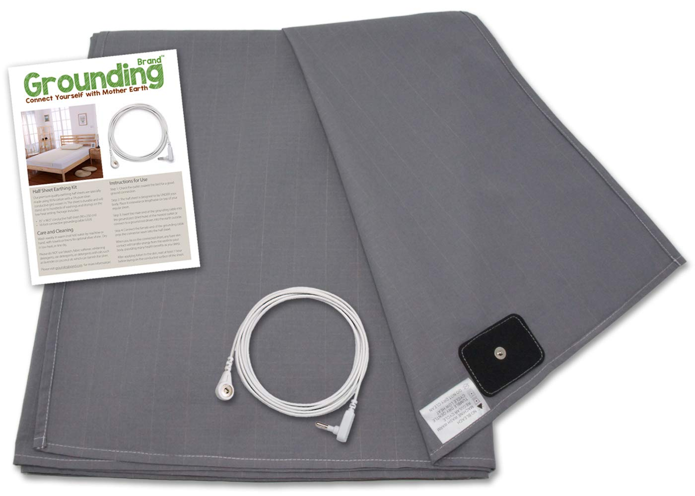 Grounding Brand Flat Twin Size Sheet with Earth Connection Cable, 400TC Conductive Mat with Pure Silver Thread for Better Sleep and Healthy Earth Energy, Rich Grey