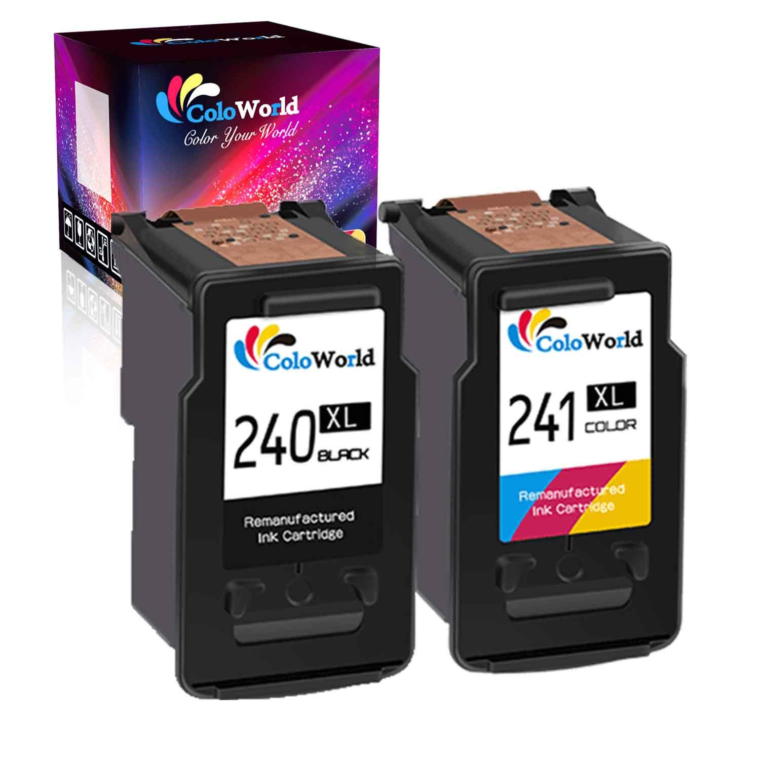 ColoWorld Remanufactured Ink Cartridge Replacement for Canon 240XL PG-240XL 240 XL CL-241XL 241 XL Used in Canon PIXMA MG3620 TS5120 MG3520 MX472 MX452 MG3220 MG2120 MX432 Printer (1 Black 1 Color)