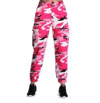 ZODLLS Women's Camo Pants Cargo Trousers Cool Camouflage Pants Elastic Waist Casual Multi Outdoor Jogger Pants with Pocket