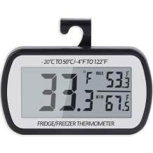 AEVETE Refrigerator Thermometer Digital Fridge Thermometer for Freezer with Magnetic Back Large LCD, No Frills Easy to Read (Black)