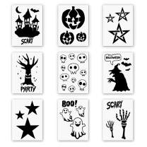 """9 Pieces Plastic Halloween Themes Stencils Scale Template Set, Old Castle,Pumpkin,Star,Skeleton,Witch,Bat,Ghost,Art Drawing Painting Spraying DIY Mould Decor(10""""×7"""")"""