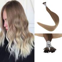 【Clearance】Full Shine Fusion I Tip Hair Extensions 18 Inch Ombre Blonde Stick Tips Color 12 Faded To 24 Light Blonde 1 Gram Per Strand 50 Gram Per Package Pastel Hair Extentions