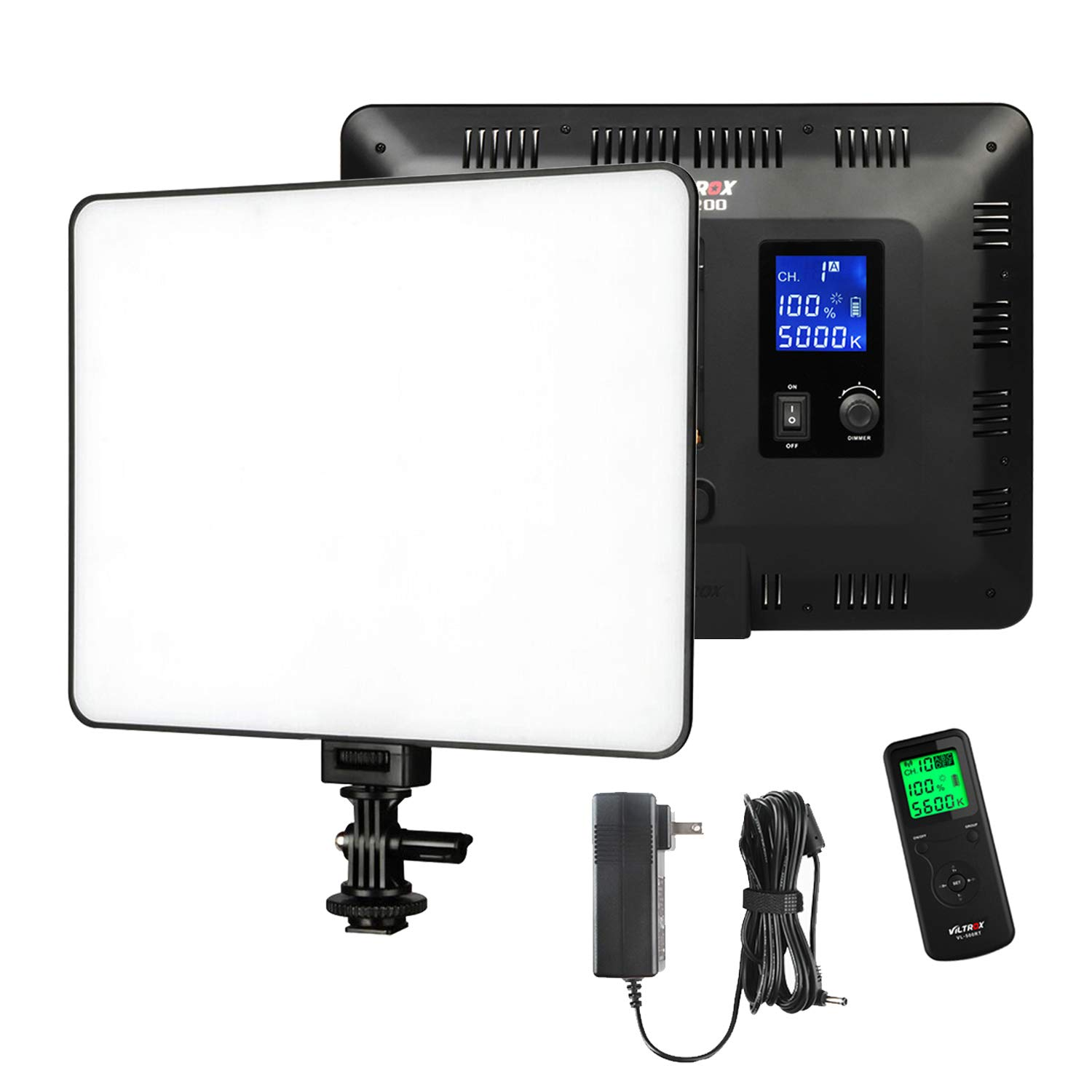 VILTROX VL-200T 12.4'' inch Bi-Color Dimmable LED Video Light with Remote Control,Ultra Thin 3300-5600K,CRI95+ Panel Lamp+Power Supply Adapter for Photography Interview YouTube Studio