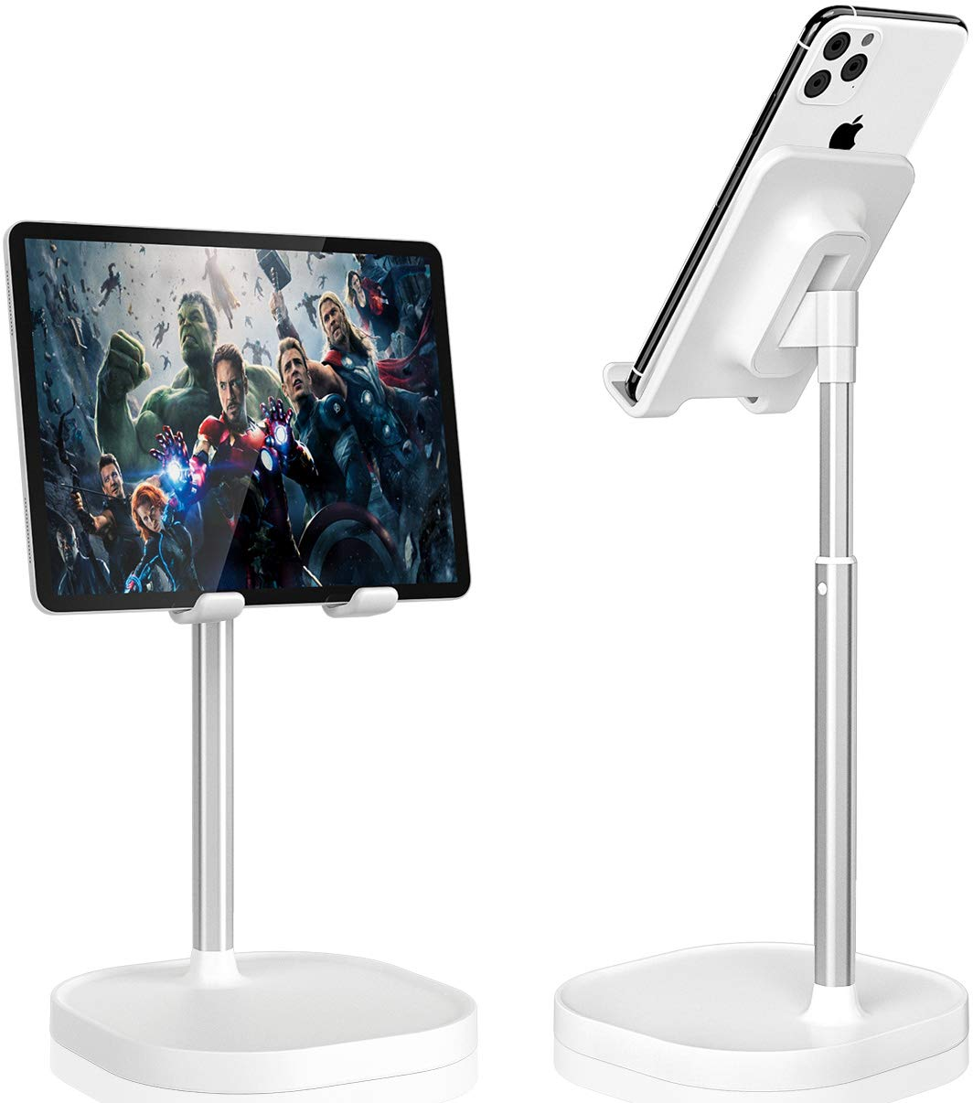 Cell Phone Stand,Angle Height Adjustable Phone Stand for Desk, Thick Case Friendly Phone Holder Stand for Desk, Compatible with All Mobile Phones,iPhone,Switch,iPad,Tablet(4-10in)-White
