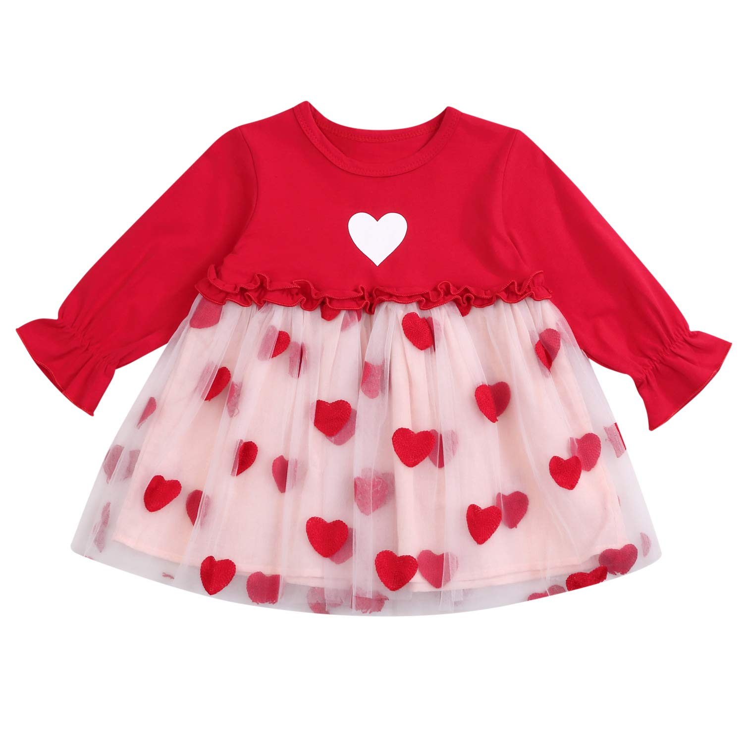 Toddler Baby Girls Valentine's Day Outfits Red Love Dress Trumpet Sleeve Tutu Skirt Winter Clothes